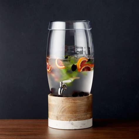 oregon glass drink dispenser  wood  marble stand