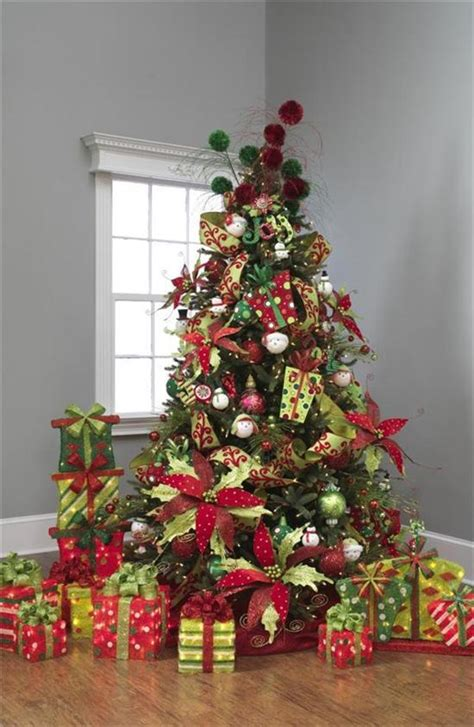 lime green and red christmas tree decorations