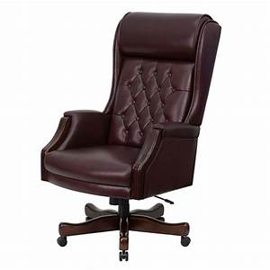 Flash, Furniture, Tufted, Traditional, Leather, Executive, Office, Chair, With, Arms, Burgundy