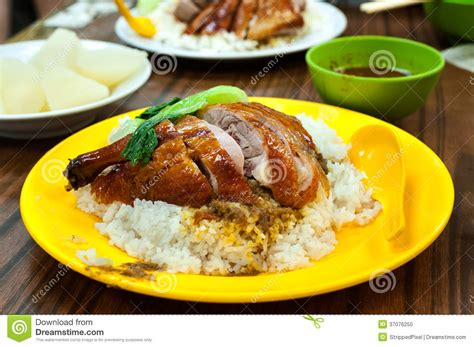 pai cuisine roast duck with rice at a local hong kong restaurant stock