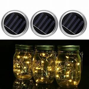 Solar Christmas String Lights Solar Powered Led Mason Jars Light Up Lid 10 Led String