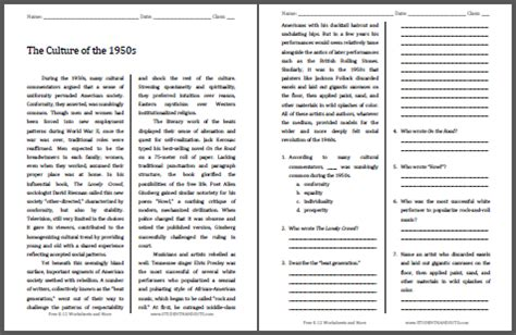 The Culture Of The 1950s  Free Printable American History Reading With Questions