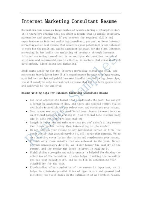 resume sles marketing consultant resume