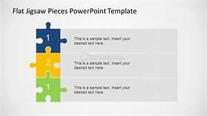 Three Steps Vertical Diagram Using Jigsaw Pieces