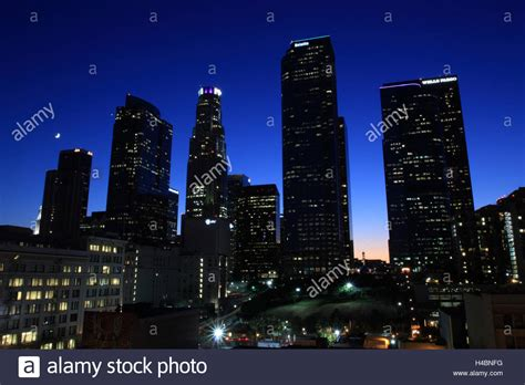 night photography downtown los angeles california stock