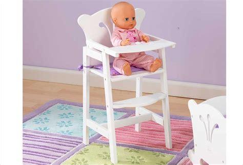 chaise haute poupée mobilier pour poupon chaise haute blanche en bois pour