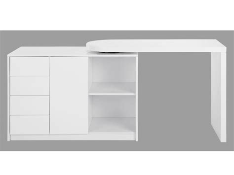 vente meuble de cuisine bureau extensible pavel 4 tiroirs 1 porte laqué blanc