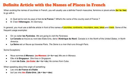 Names Of Countries In French Masculine Feminine Articles