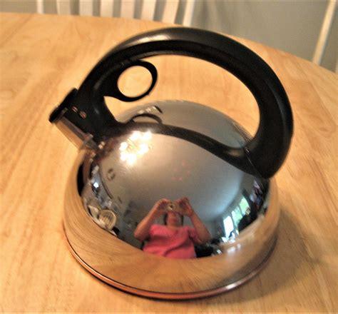 revere ware stainless whistling tea kettle copper bottom