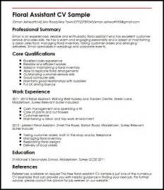 resume exles uk floral assistant cv sle myperfectcv