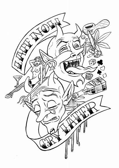 Coloring Pages Tattoo Tattoos Dragon Cry Later