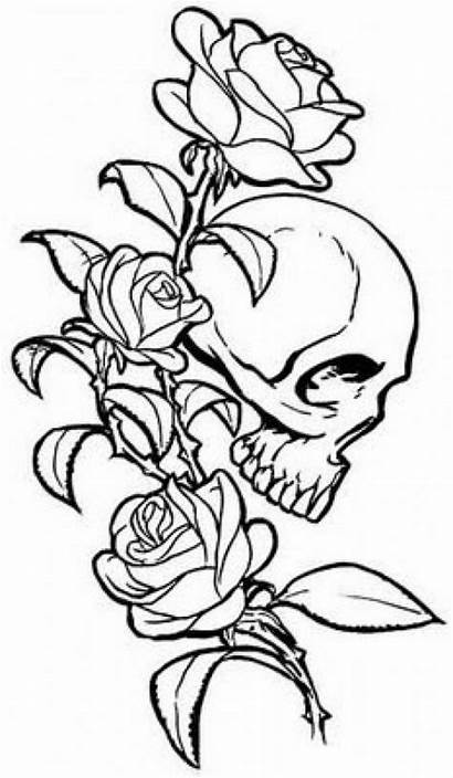 Tattoo Skull Rose Coloring Tattoos Drawings Skulls