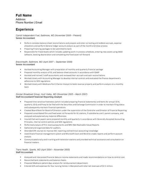 free senior accounting resume template sle ms word