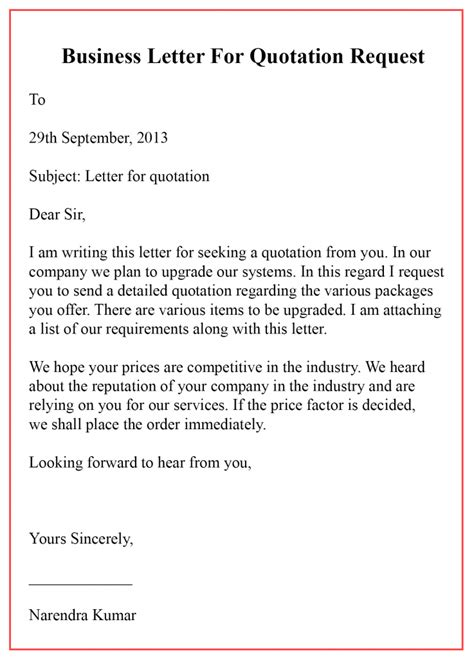 printable business letter  quotation template