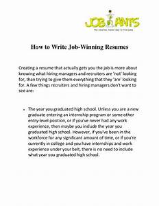 how to write job winning resumes With how to write a winning resume