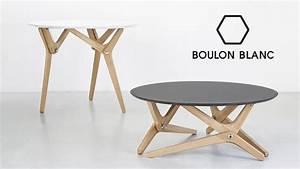 Table Modulable Basse    Haute Par Boulon Blanc