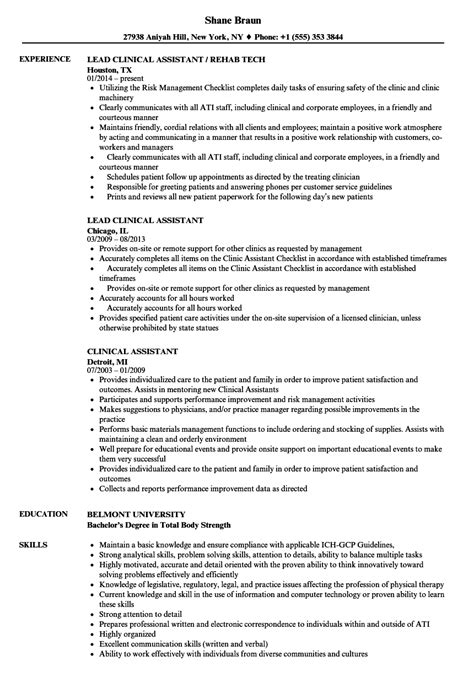 Clinical Assistant Resume by Clinical Assistant Resume Sles Velvet