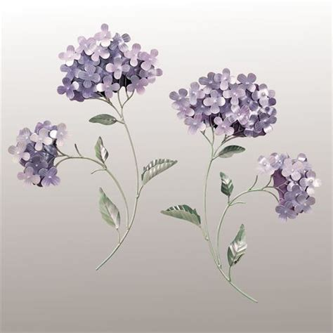 Check out our hydrangea wall art selection for the very best in unique or custom, handmade pieces from our wall hangings shops. Lavender Hydrangea Floral Metal Wall Sculpture Set