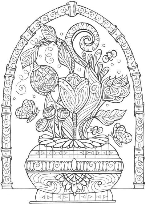 Vase of Flowers Adult Coloring Page | FaveCrafts.com
