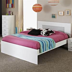 Lit Blanc Adulte : lit adulte 160x200cm max blanc ~ Teatrodelosmanantiales.com Idées de Décoration