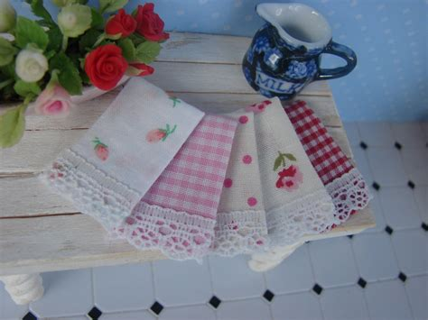 shabby chic kitchen towels dollhouse miniature shabby chic kitchen tea by ittybittyandcute