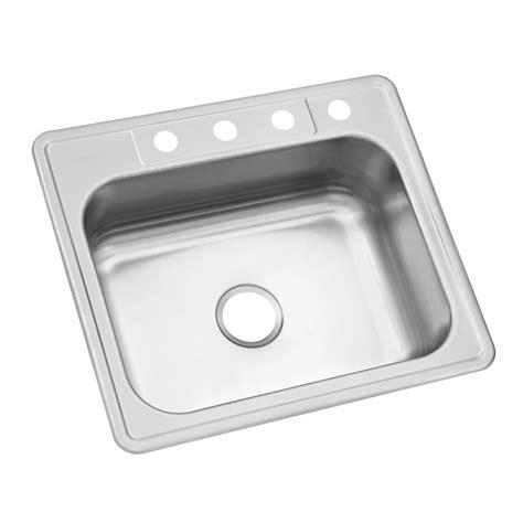 single basin stainless steel sink glacier bay drop in stainless steel 25 in 4 hole single