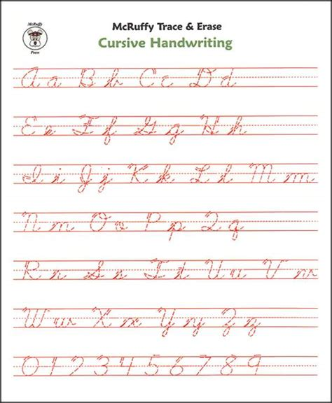 Trace & Erase Alphabet Handwriting Sheets Cursive (008495) Details  Rainbow Resource Center, Inc
