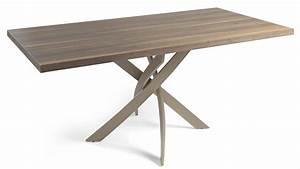 Table Bois Rectangulaire : table rectangulaire fibre de verre taupe et bois noyer ~ Teatrodelosmanantiales.com Idées de Décoration