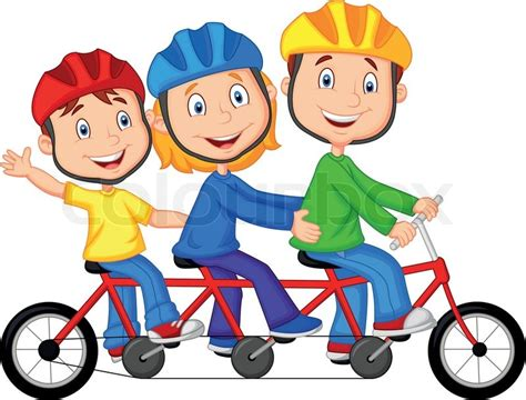 Vector Illustration Of Happy Family Cartoon Riding Triple