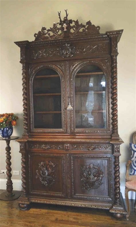 Antique Black Bookcase by Antique Hunt Cabinet Bookcase Black Forest Hutch