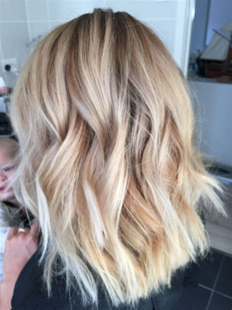 ombre blonde lob   textured wave hair beauty