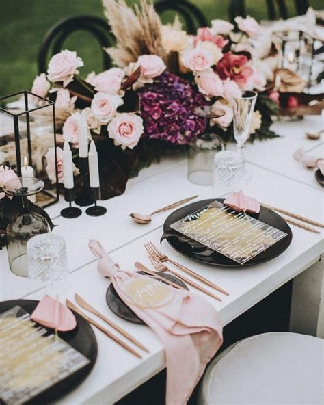 20 Modern Blush and Black Wedding Color Ideas Roses & Rings