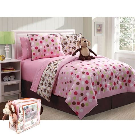 monkey full girl bed in a bag pink brown polka comforter