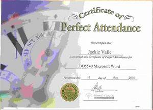 Perfect Attendance Certificate Template Perfect Attendance CertificateReference Letters Words Reference Letters Words