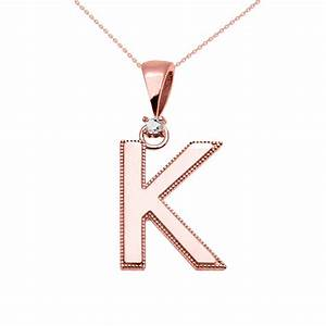 0025ct diamond milgrain letter k pendant necklace in 9ct With rose gold letter k necklace