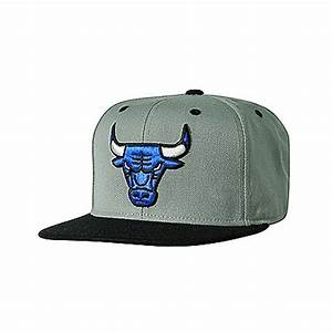 Chicago Bulls Grey Snapback with Black Bill and Neon Blue
