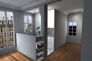 deco cuisine 8m2 With good plan d appartement 3d 9 amenagement sejourcuisine bureau