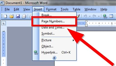 how to insert page numbers in microsoft word 2003 5 steps