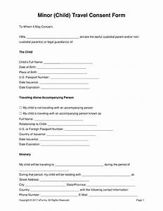 Free minor child travel consent form pdf word for Consent form template for children