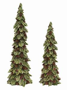 Set, Of, 2, Glittered, Holly, Trees, With, Pines, Cones, Christmas, Table, Top, Decorations, 19, U0026quot