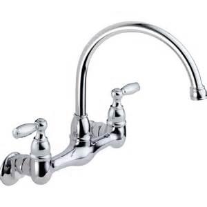 chrome kitchen faucet shop peerless chrome 2 handle high arc wall mount kitchen faucet at lowes com
