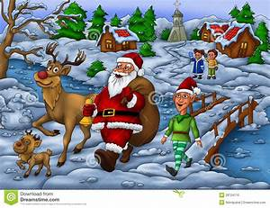 Santa Distributing Gift With Elf And His Rudolph Stock