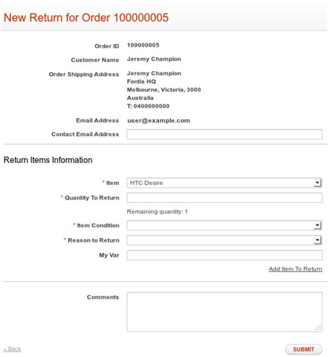 Rma Request Form Template by Rma Feature Overview Fontis