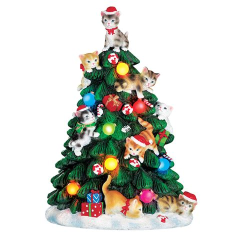 lighted cat christmas tree figurine by collections etc ebay