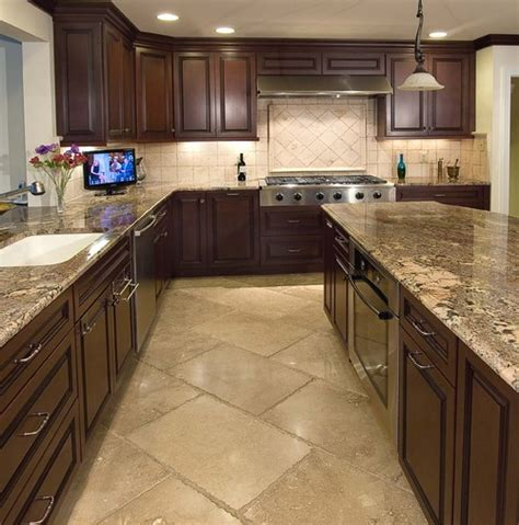 Kitchens With Cabinets And Floors by What Is The Size Of The Travertine Flooring