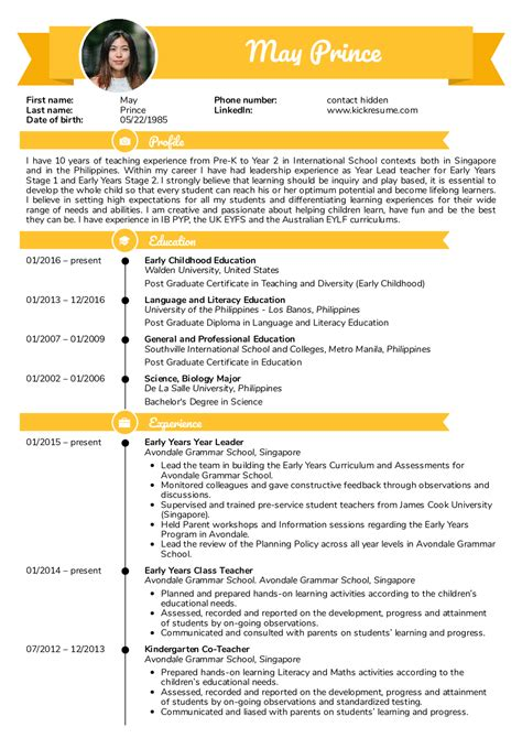 resume examples  real people teacher resume