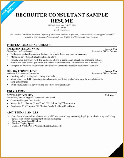 Recruitment Consultant Cover Letter Exle by 7 Recruitment Consultant Resume Sle Free Sles