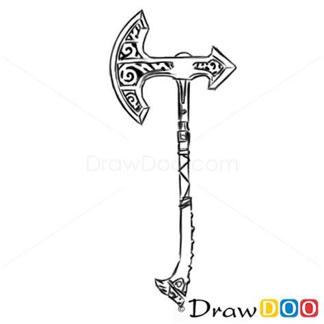 draw skyrim game axe cold arms