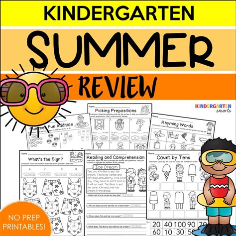 Kindergarten Summer Review Worksheets Summer