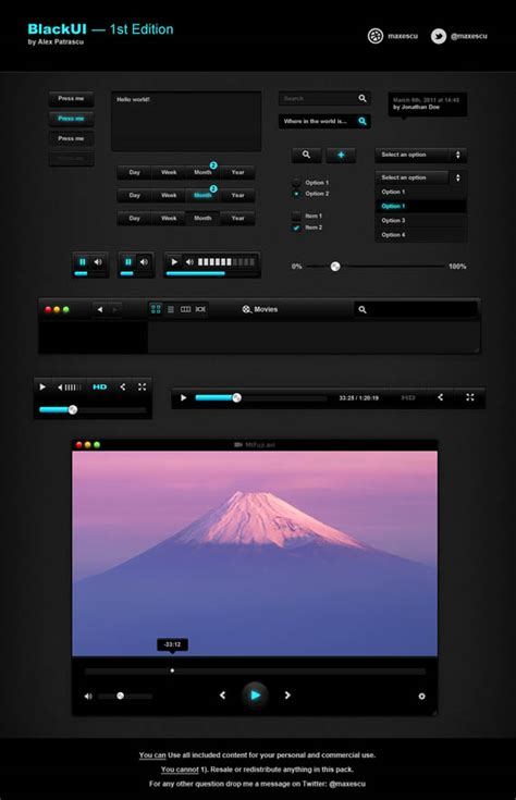 10 Free Video Player Skin & UI Element PSD Templates | PSD ...